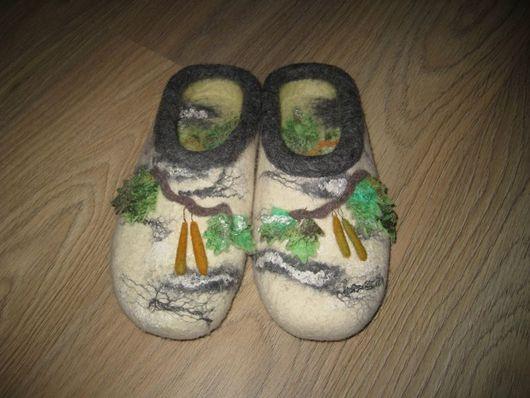 """Обувь ручной работы. Ярмарка Мастеров - ручная работа. Купить Тапочки """"Березки"""". Handmade. Эксклюзивный подарок, волокна вискозы"""