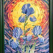 Картины ручной работы. Ярмарка Мастеров - ручная работа Картина «Ирисы». Handmade.
