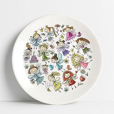 Посуда ручной работы. Ярмарка Мастеров - ручная работа Тарелка с феями. Handmade.