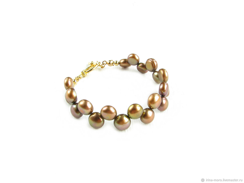Brown pearl bracelet, natural pearl bracelet, Bead bracelet, Moscow,  Фото №1
