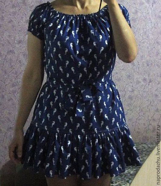 Платья ручной работы. Ярмарка Мастеров - ручная работа. Купить синее платье с открытыми плечами 100% хлопок. Handmade. с воланом