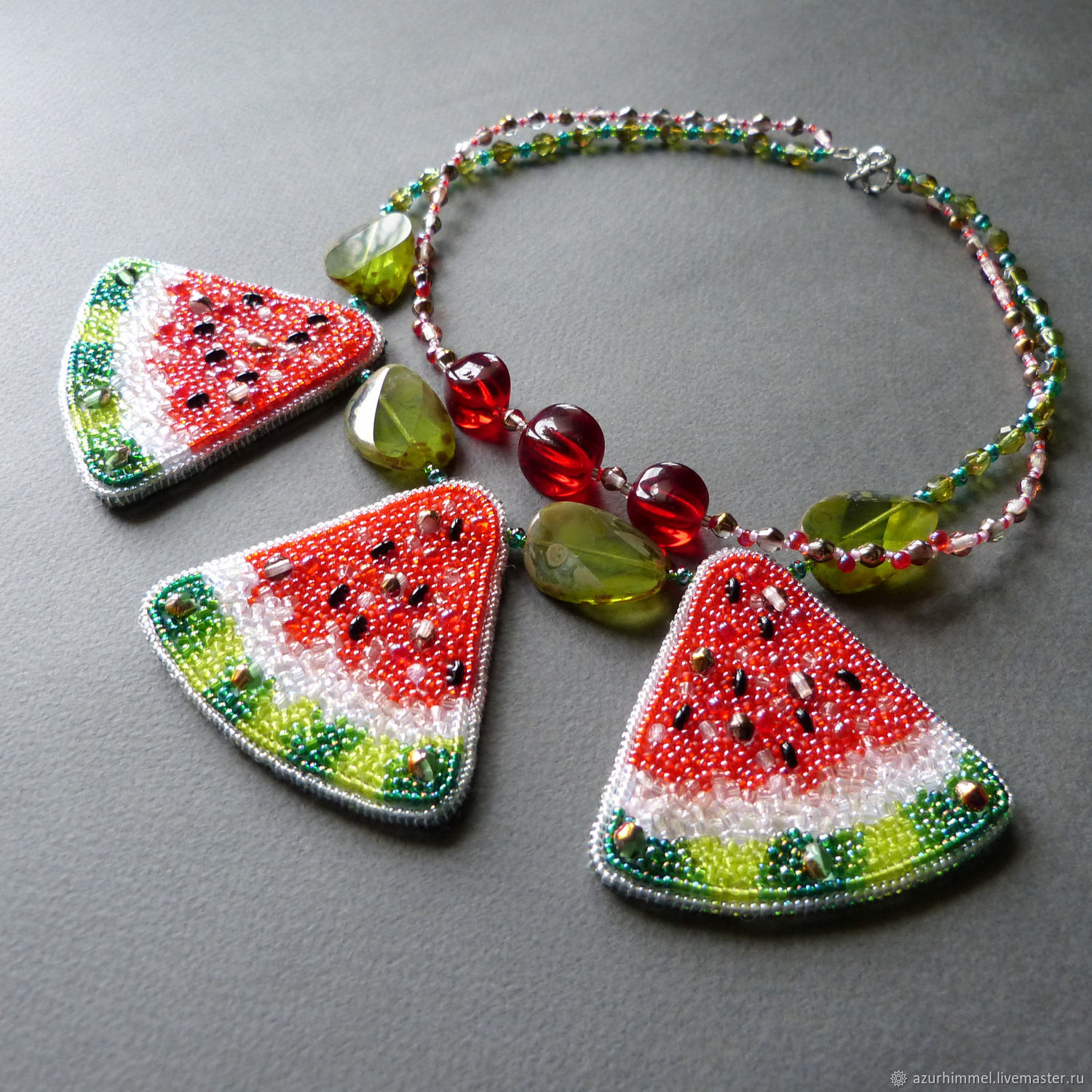 Necklace of beads and beads 'Beads-watermelons', Necklace, Moscow,  Фото №1