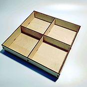 Коробки ручной работы. Ярмарка Мастеров - ручная работа Коробка с ячейками из фанеры BOX-150-50-2x2. Handmade.