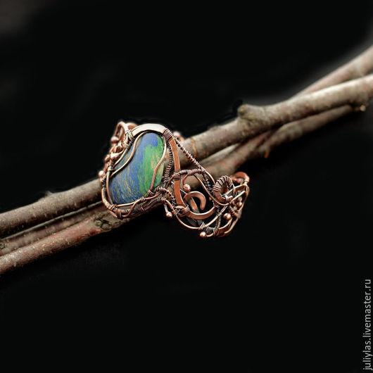 браслет с азурмалахитом, красивый браслет, подарок девушке, подарок женщине, купить подарок, авторская ручная работа, медное украшение