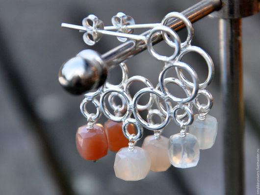 Серьги ручной работы. Ярмарка Мастеров - ручная работа. Купить Серебряные серьги-кольца Лунный свет. Handmade. Серебряные серьги