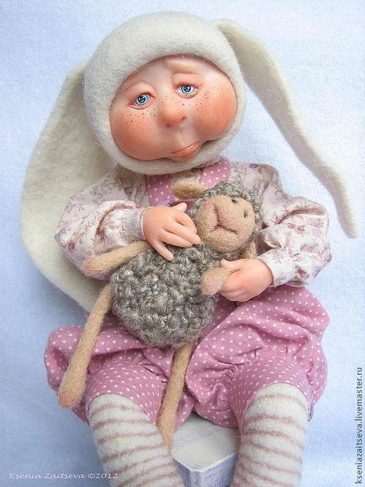 """Коллекционные куклы ручной работы. Ярмарка Мастеров - ручная работа. Купить зайка-малышка """"А мне не можнА кАнфет"""". Handmade."""