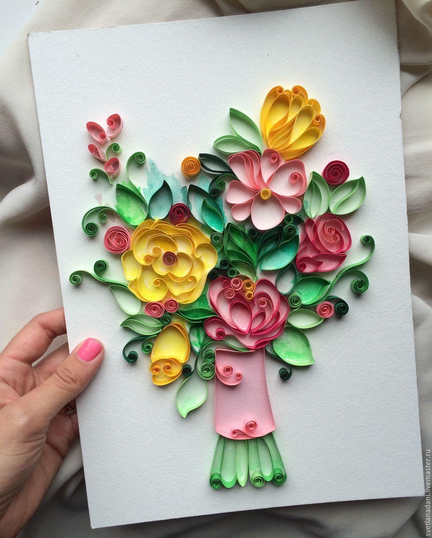 Квиллинг картины цветы букеты