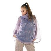Одежда ручной работы. Ярмарка Мастеров - ручная работа Блуза двусторонняя из органзы с воротником хомут и шелковой бейкой. Handmade.
