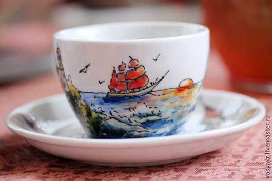 Сервизы, чайные пары ручной работы. Ярмарка Мастеров - ручная работа. Купить Морская. Алые паруса.. Handmade. Море, парус