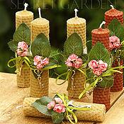 Сувениры и подарки ручной работы. Ярмарка Мастеров - ручная работа Свечи из вощины с декором 12 см. Handmade.