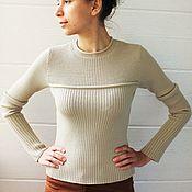 Одежда ручной работы. Ярмарка Мастеров - ручная работа Джемпер-лапша из мериносовой шерсти (вязаный, женский). Handmade.