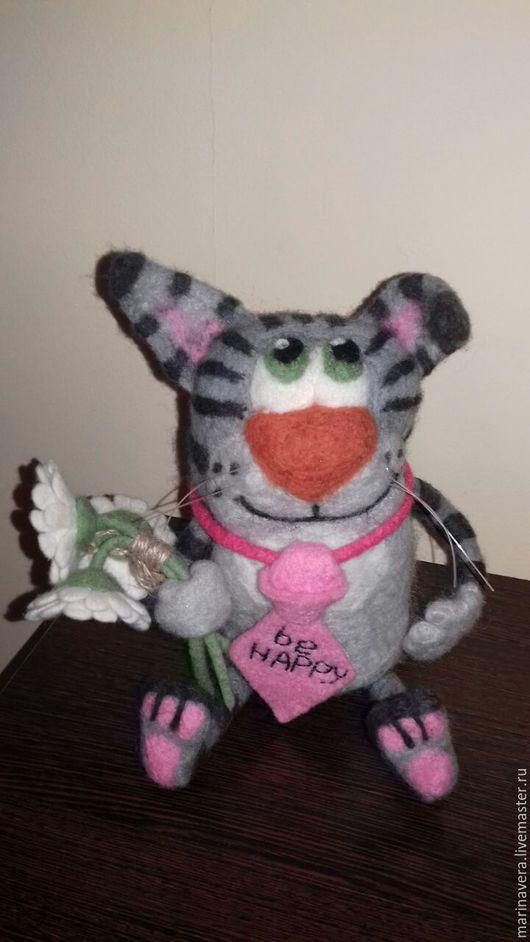 """Игрушки животные, ручной работы. Ярмарка Мастеров - ручная работа. Купить Кот """"Счастливчик"""". Handmade. Серый, оригинальный подарок"""