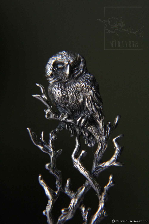 Серебряная чайная ложка с совушкой. Единственный экземпляр, Ложки, Москва,  Фото №1