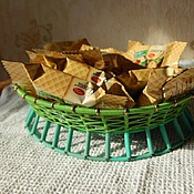 Для дома и интерьера ручной работы. Ярмарка Мастеров - ручная работа зелёная конфетница, сплетённая из проволоки. Handmade.