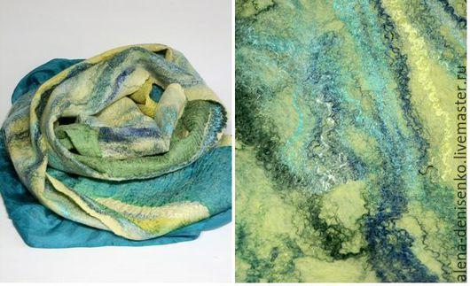 Шарфы и шарфики ручной работы. Ярмарка Мастеров - ручная работа. Купить шарф валяный Русалкины сны. Handmade. Разноцветный