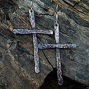 Украшения handmade. Livemaster - original item Forged Copper Cross Earrings. Handmade.