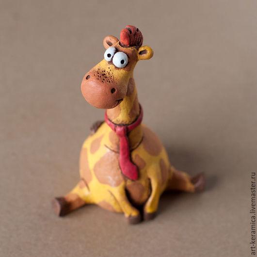 Статуэтки ручной работы. Ярмарка Мастеров - ручная работа. Купить Жираф керамический Иннокентий. Handmade. Фигурка жирафа, желтый жираф