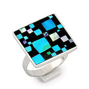 Украшения handmade. Livemaster - original item RING Chess mosaic. Size 18. turquoise. Mother of pearl. charoite. Handmade.