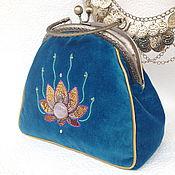 Сумки и аксессуары handmade. Livemaster - original item Handbag evening SUN LOTUS velvet, beads, GIMP, sequins. Handmade.