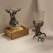 """Рюмки ручной работы. Ярмарка Мастеров - ручная работа Рюмка """"Олень"""" бронза стекло. Handmade."""