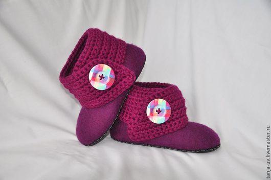 """Обувь ручной работы. Ярмарка Мастеров - ручная работа. Купить Полусапожки домашние """"Фиолет"""". Handmade. Тапочки, тапочки из шерсти"""