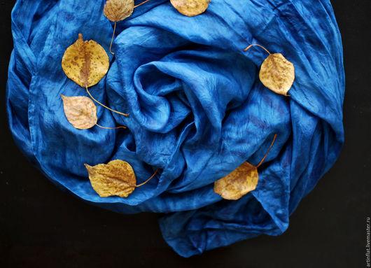"""Шарфы и шарфики ручной работы. Ярмарка Мастеров - ручная работа. Купить Палантин шелковый  """"Звездное небо"""" индиго шибори. Handmade."""