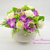 Цветы и флористика ручной работы. Ярмарка Мастеров - ручная работа Композиция с розами и скабиозой. Handmade.