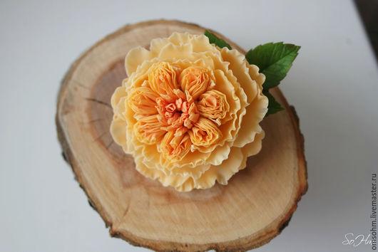 """Заколки ручной работы. Ярмарка Мастеров - ручная работа. Купить Зажим """"Пионовидная роза"""" (Английская роза). Handmade. Оранжевый"""