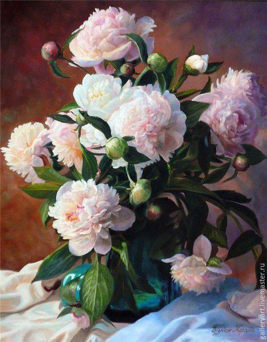 """Картины цветов ручной работы. Ярмарка Мастеров - ручная работа. Купить Картина """"Пионы в стеклянной вазе"""". Handmade. Розовый"""