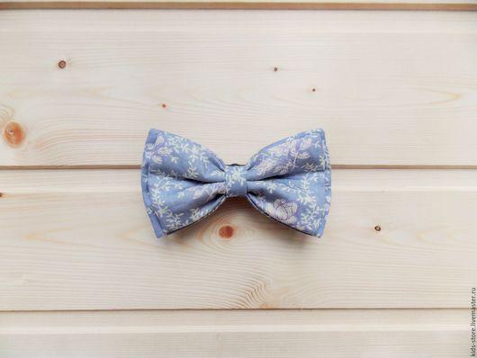 """Детские аксессуары ручной работы. Ярмарка Мастеров - ручная работа. Купить Детская галстук бабочка """"Цветы"""" / серая бабочка галстук с цветами. Handmade."""