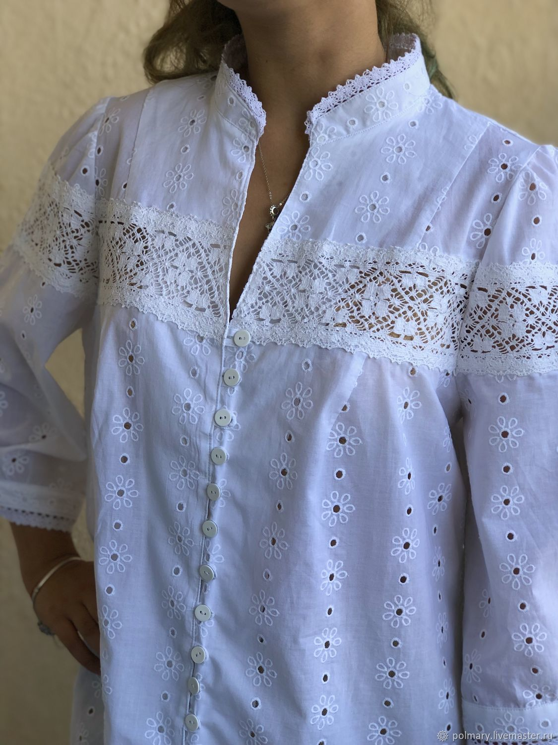 Cotton office blouse in boho style, with buttons and pockets, Blouses, Tashkent, Фото №1