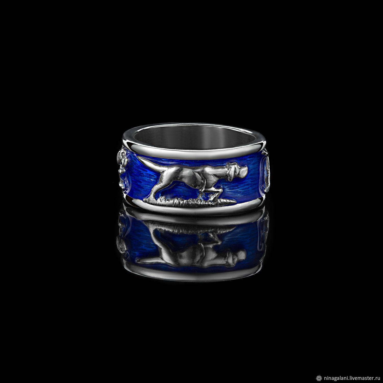 Кольцо с собаками породы Легавые , эмаль родий. кольцо охотника, Кольца, Санкт-Петербург,  Фото №1