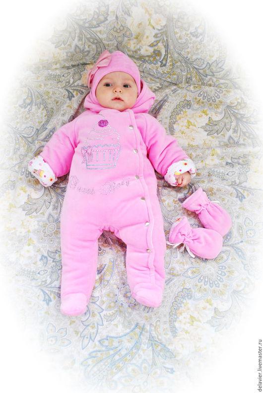 """Одежда ручной работы. Ярмарка Мастеров - ручная работа. Купить Утепленный комбинезон для новорожденных """"Sweet Baby""""-2. Handmade. Розовый"""