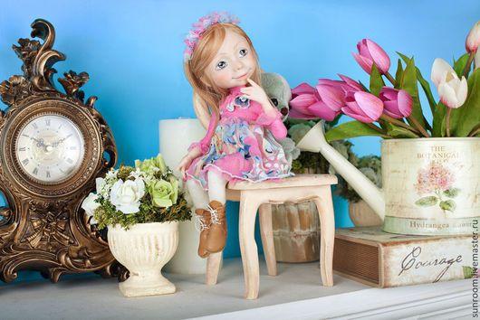 Коллекционные куклы ручной работы. Ярмарка Мастеров - ручная работа. Купить Малышка и мишка. Handmade. Розовый, кукла, livingdoll