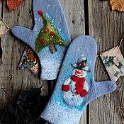 Аксессуары handmade. Livemaster - original item Mittens: The holiday comes to us. Handmade.