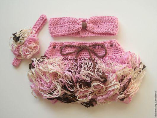 Для новорожденных, ручной работы. Ярмарка Мастеров - ручная работа. Купить Юбочка с повязкой для фотосессии. Handmade. Розовый, комплект для фотосессии
