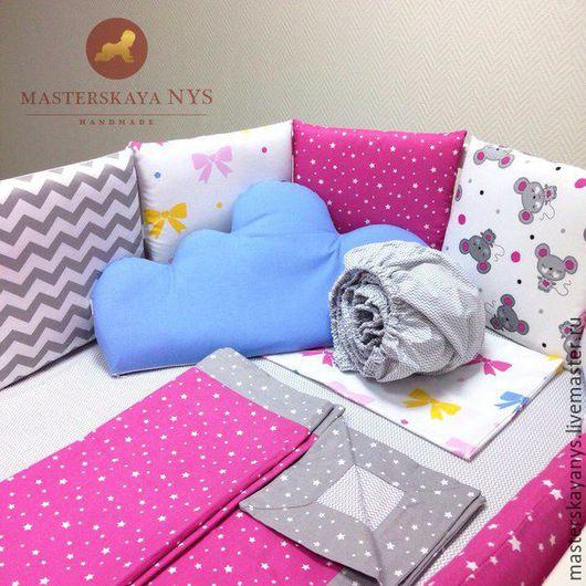 Детская ручной работы. Ярмарка Мастеров - ручная работа. Купить Комплект в кроватку: бортики, пододеяльник, простынь, наволочка. Handmade. Розовый