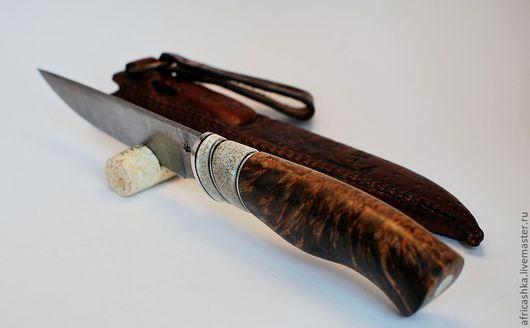 Оружие ручной работы. Ярмарка Мастеров - ручная работа. Купить нож охотничий. Handmade. Серебряный, охотнику, дамаск, вулканическая фибра