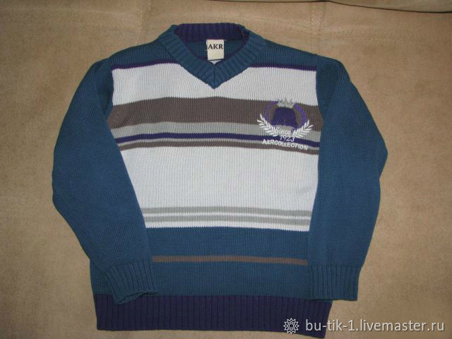 Blue stylish sweater for boy Akr size 104, Vintage clothing, Moscow,  Фото №1