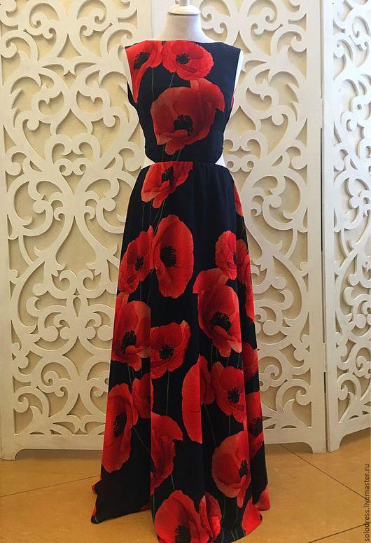 """Платья ручной работы. Ярмарка Мастеров - ручная работа. Купить Платье шифоновое """"Маки """". Handmade. Маки, платье в пол"""