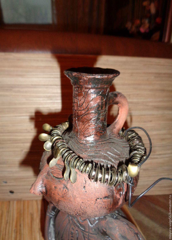Керамическая ваза-статуэтка ручной работы.Глазури,ганозис