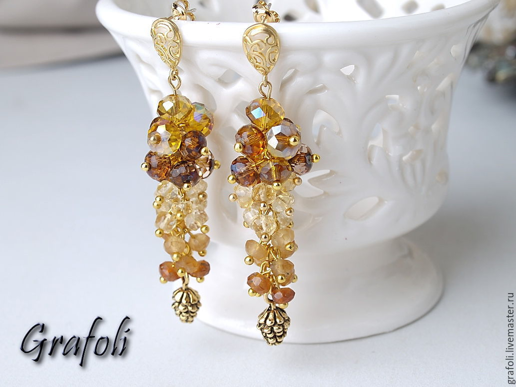 Long earrings with stones with Golden pine cones, Earrings, Moscow,  Фото №1