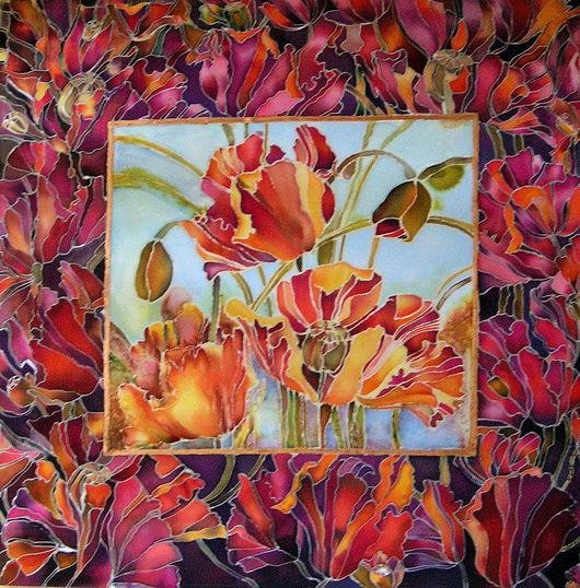 Картины цветов ручной работы. Ярмарка Мастеров - ручная работа. Купить Маковая симфония. Handmade. Маки, фиолетовый, оранжевый, подрамник
