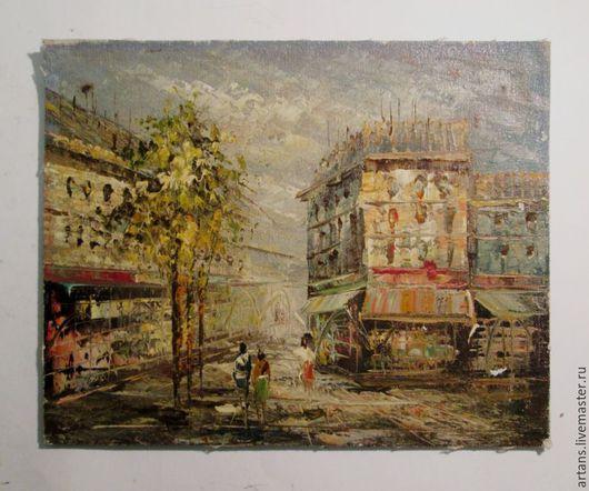 Город ручной работы. Ярмарка Мастеров - ручная работа. Купить Париж Городской Пейзаж Холст Масло Работа из Англии 1950х. Handmade.