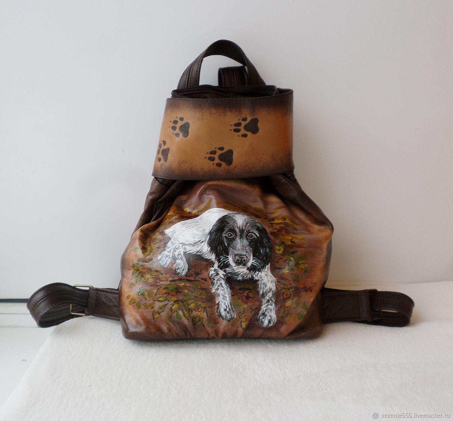 Backpack leather women with painting and engraving to order, Backpacks, Noginsk,  Фото №1