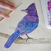 Картины и панно handmade. Livemaster - original item Pictures: Bird watercolor Steller`s black headed blue Jay. Handmade.