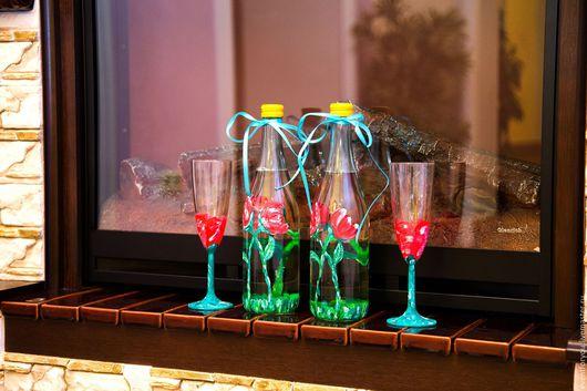 """Свадебные аксессуары ручной работы. Ярмарка Мастеров - ручная работа. Купить Бокалы и бутылки """"Весна"""". Handmade. Комбинированный, свадьба"""