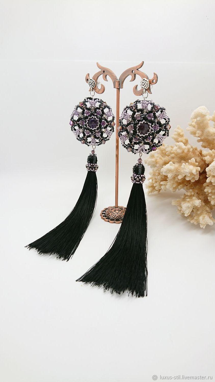 Earrings: Long Amethyst Tassels, Tassel earrings, Podolsk,  Фото №1