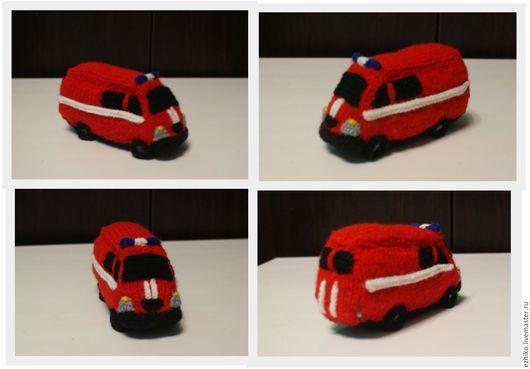 Автомобильные ручной работы. Ярмарка Мастеров - ручная работа. Купить Вязаная  пожарная машина. Handmade. Ярко-красный, МЧС