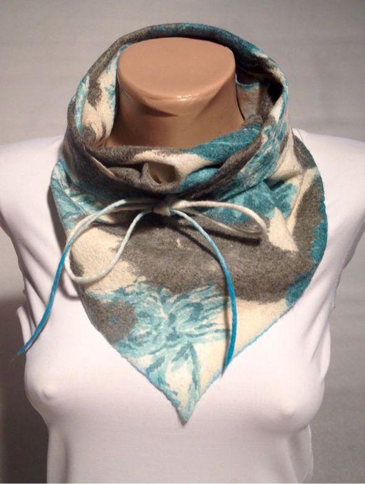 шарф косынка, шейный платок валяный шарф